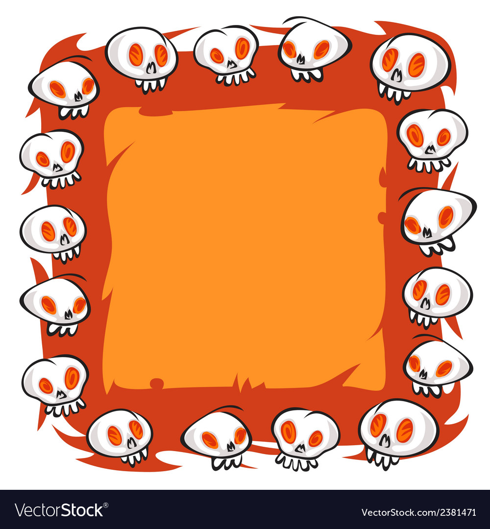 Cartoon skulls square frame on white background vector | Price: 1 Credit (USD $1)