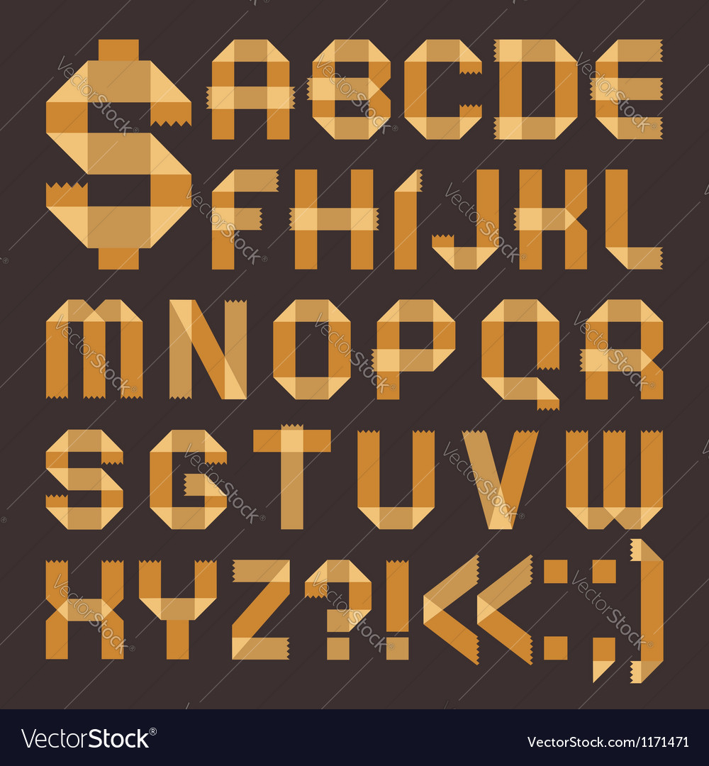 Font from yellowish scotch tape - roman alphabet vector | Price: 1 Credit (USD $1)