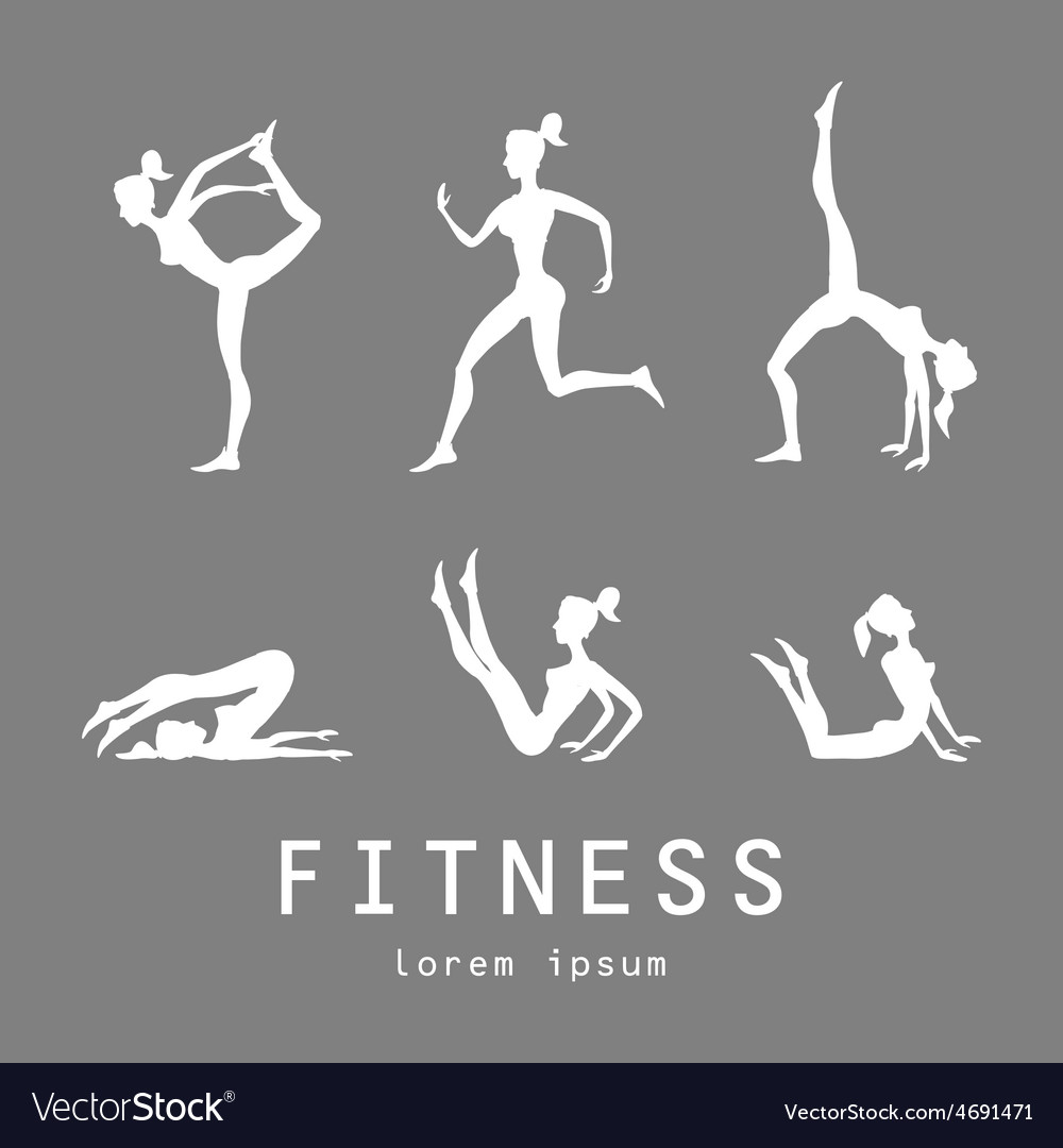 Poses silhouettes yoga set women class center vector | Price: 1 Credit (USD $1)