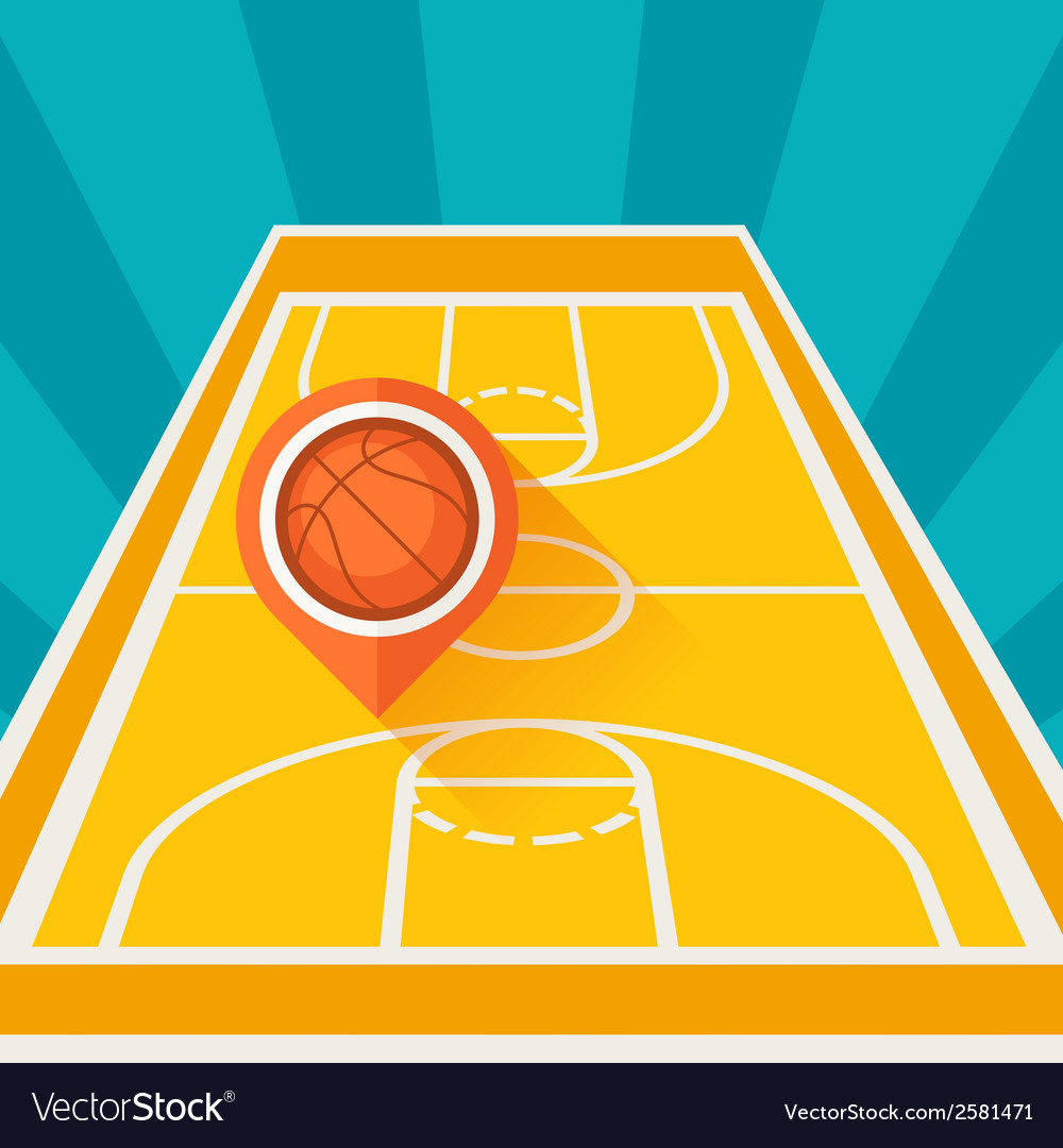 Sports background with basketball court and marker vector | Price: 1 Credit (USD $1)
