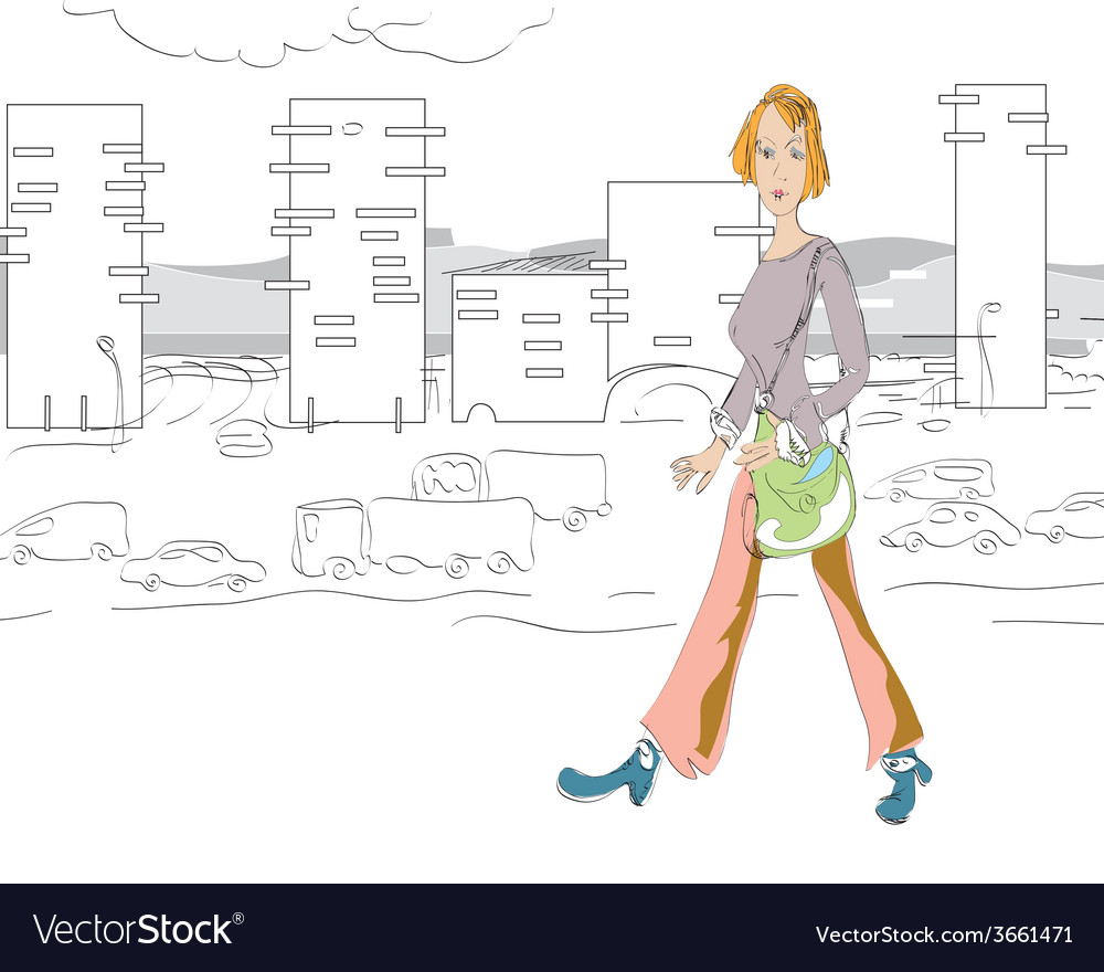 Woman walking vector | Price: 1 Credit (USD $1)
