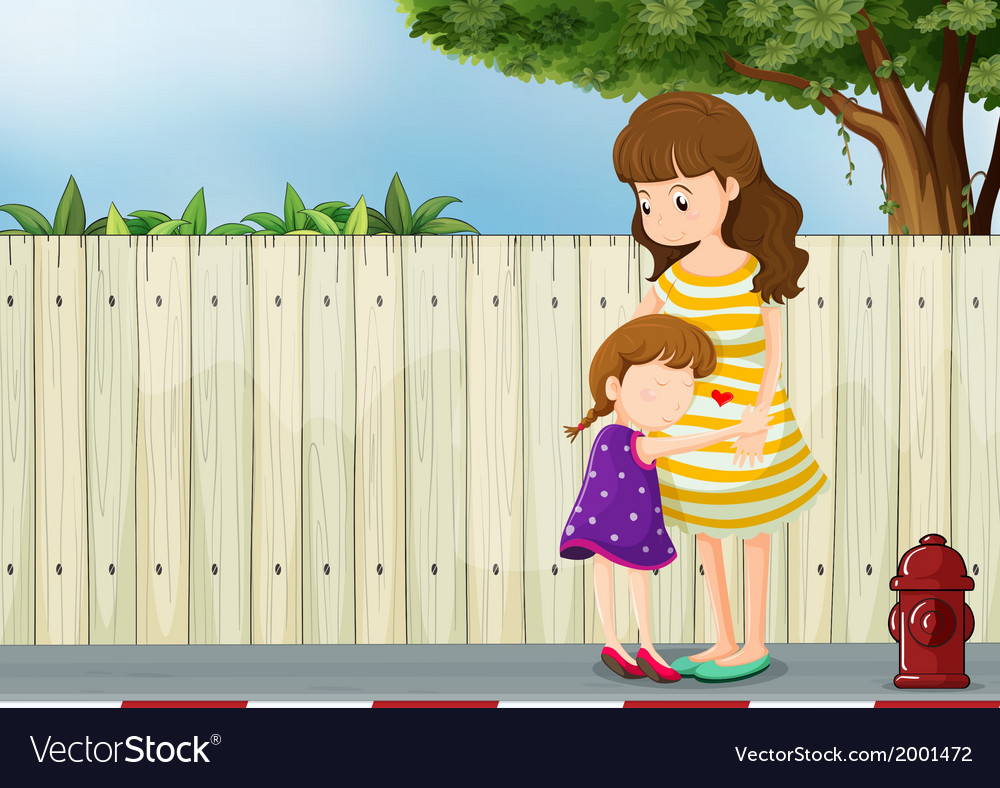 A mother and her daughter near the fence at the vector | Price: 3 Credit (USD $3)