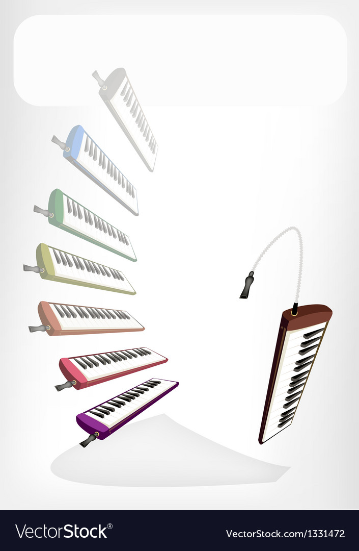 Colorful musical melodica with a white banner vector | Price: 1 Credit (USD $1)