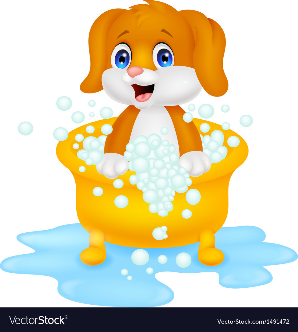 Dog cartoon bathing vector | Price: 1 Credit (USD $1)