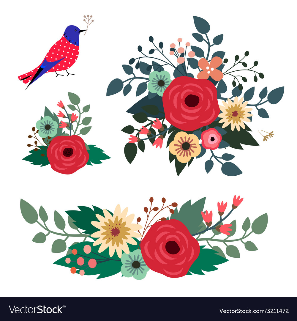 Floral bouquets and blue bird vector