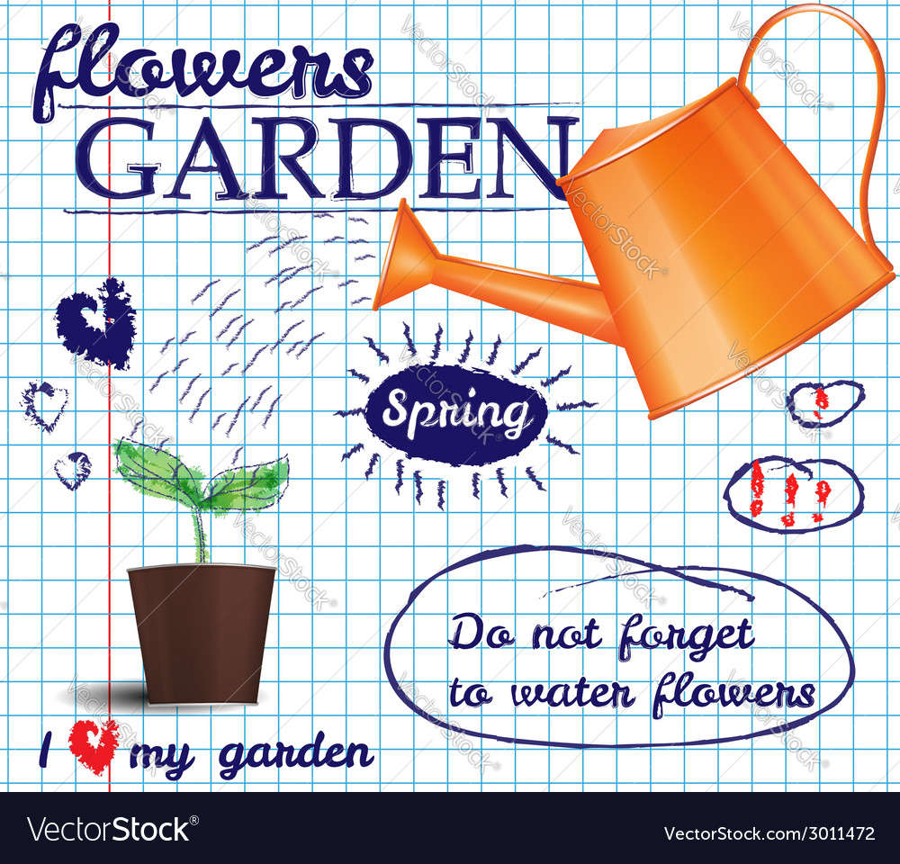 Flower garden poster vector | Price: 1 Credit (USD $1)