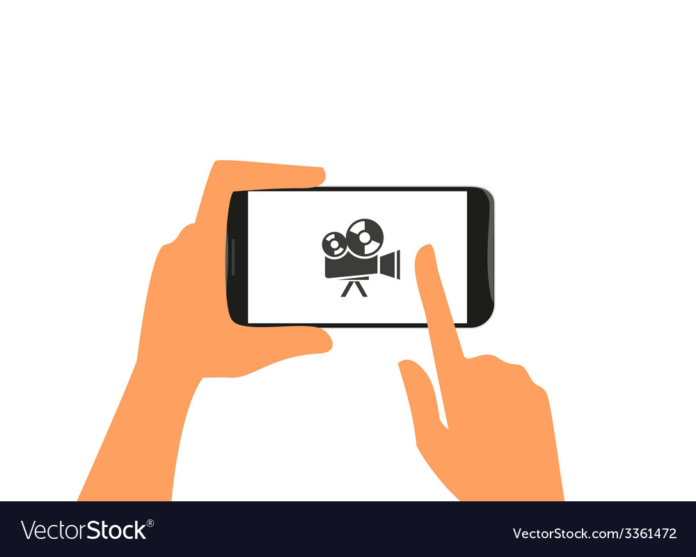 Human hand holds black smartphone with camera vector | Price: 1 Credit (USD $1)