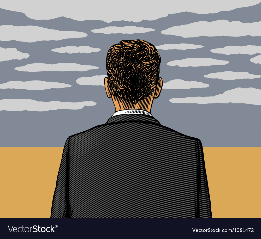 Lonely man with cloudy sky vector | Price: 1 Credit (USD $1)