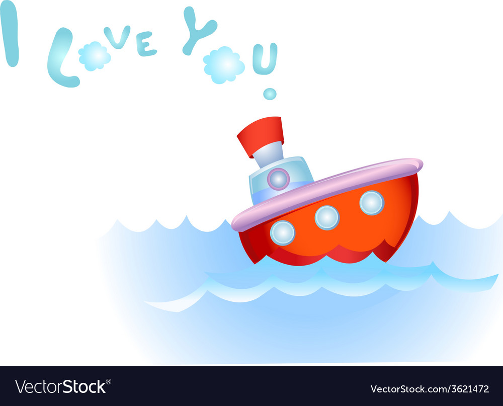 Steamship in love vector | Price: 1 Credit (USD $1)