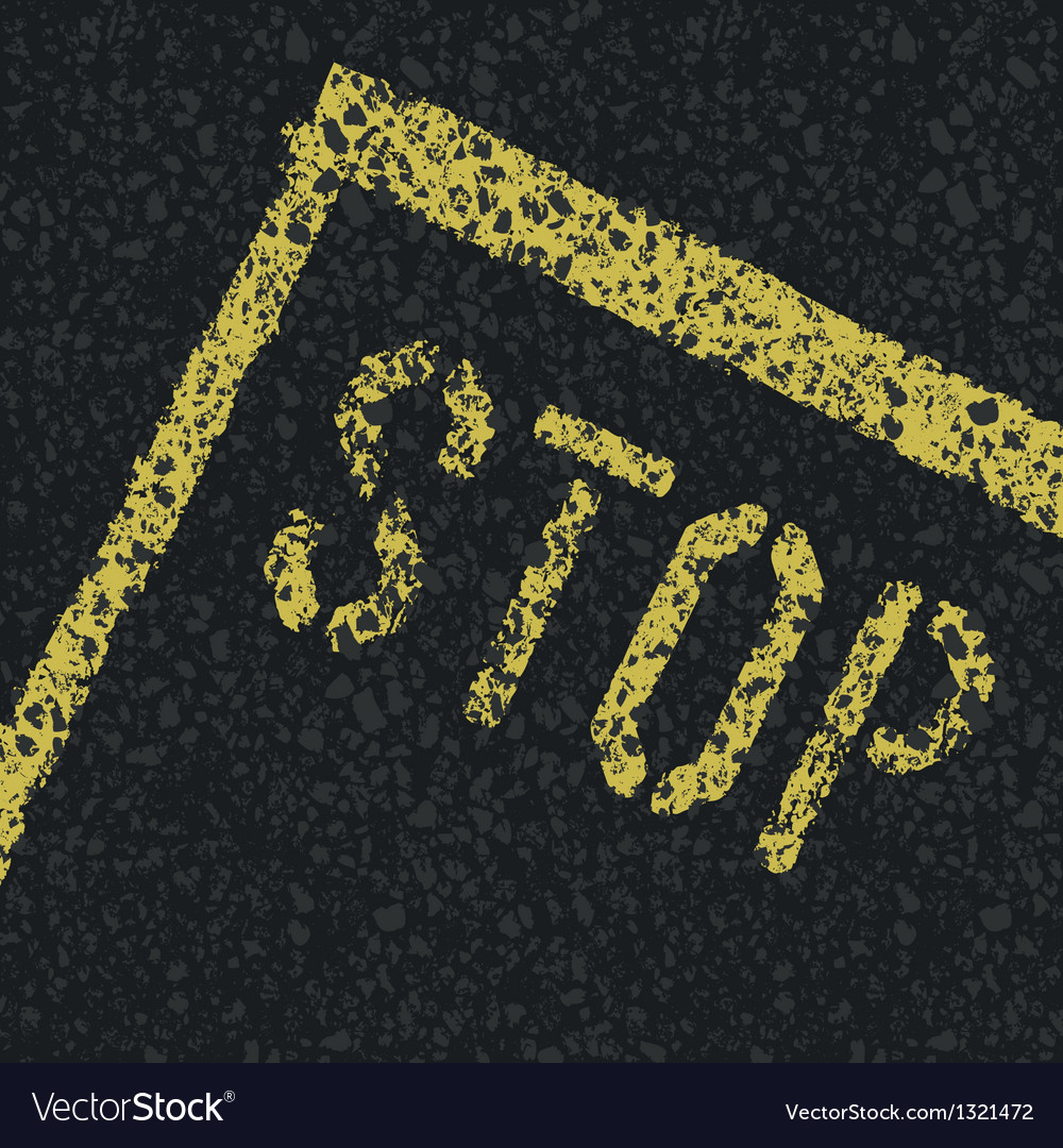Stop sign on road vector | Price: 1 Credit (USD $1)