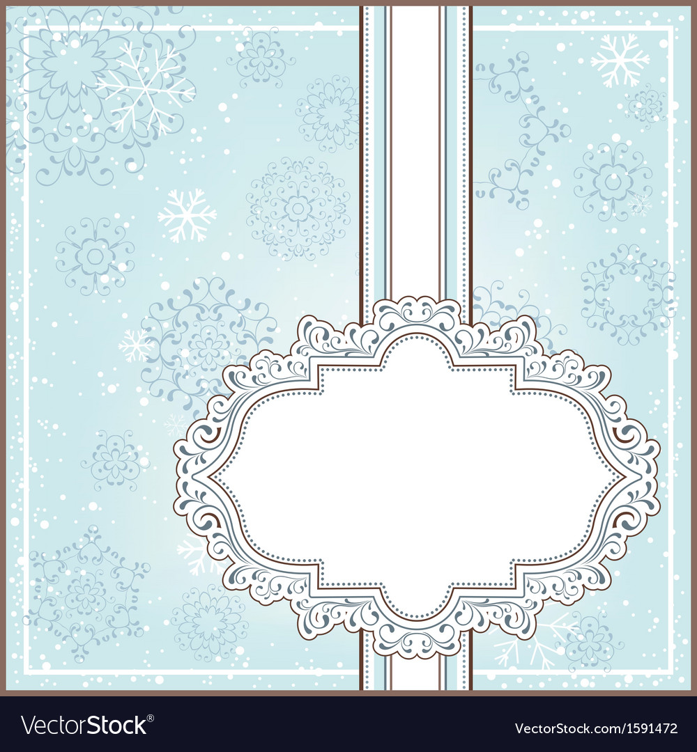 Winter background with ornamental frame vector | Price: 1 Credit (USD $1)