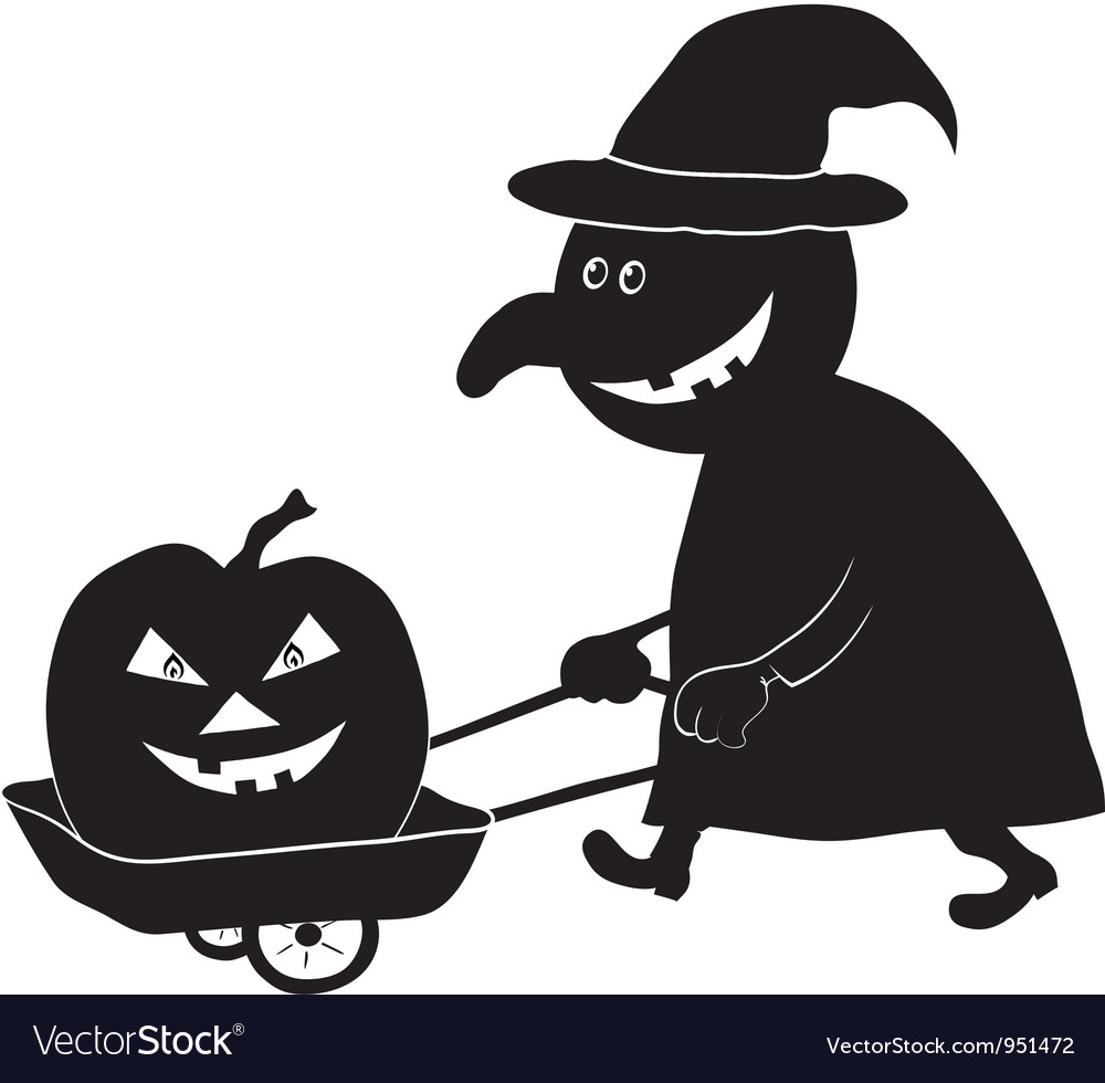 Witch with pumpkin silhouette vector | Price: 1 Credit (USD $1)