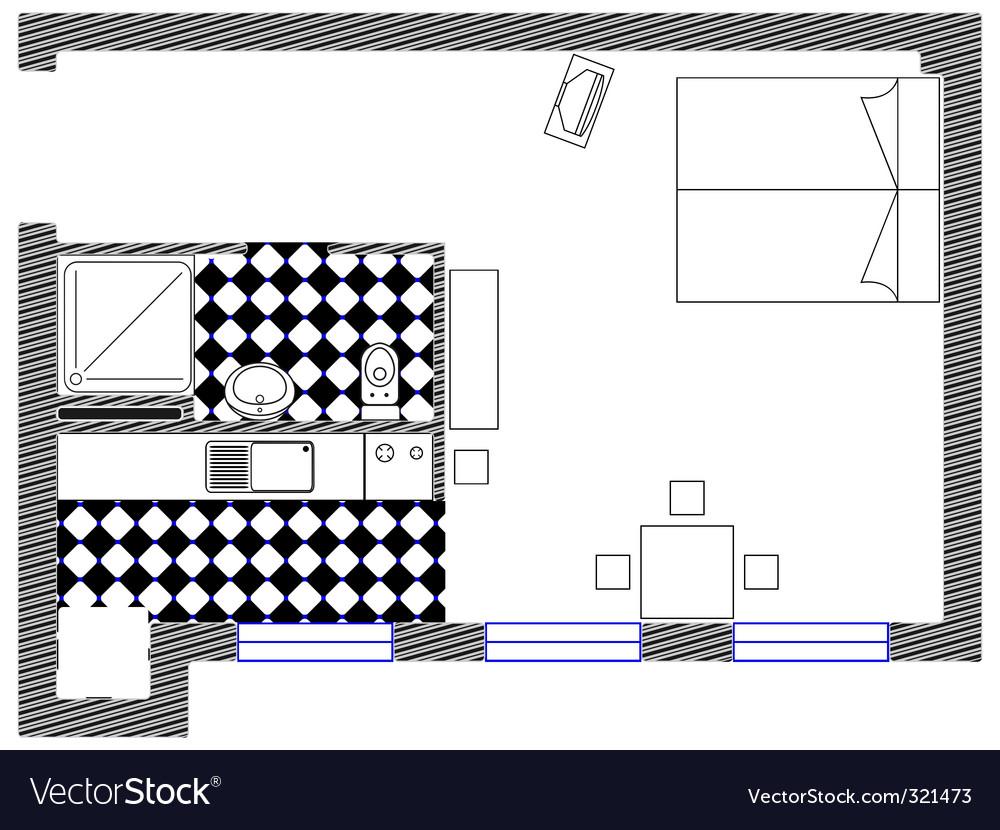 Bedroom sketch plan vector | Price: 1 Credit (USD $1)