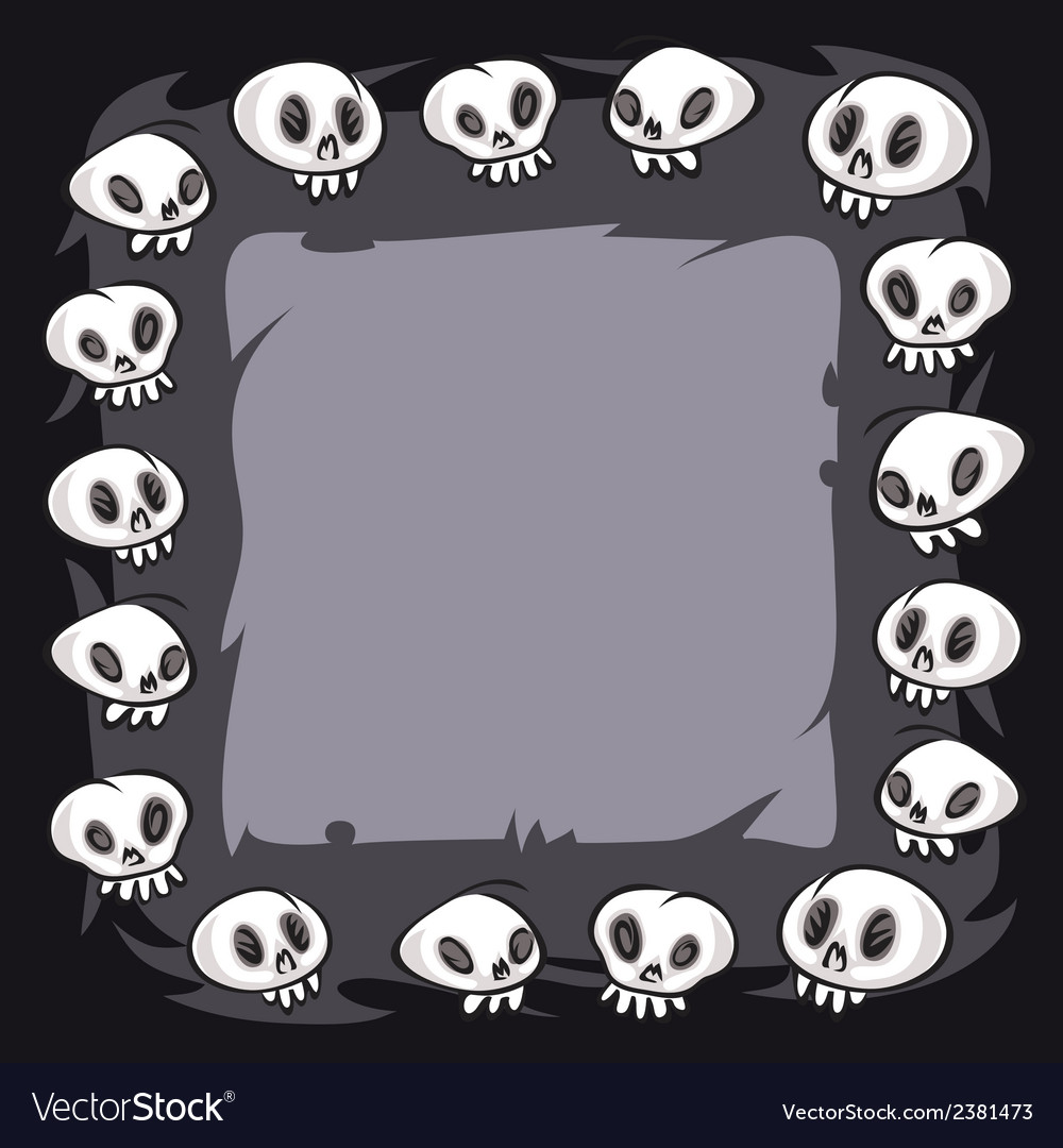 Cartoon skulls square frame vector | Price: 1 Credit (USD $1)