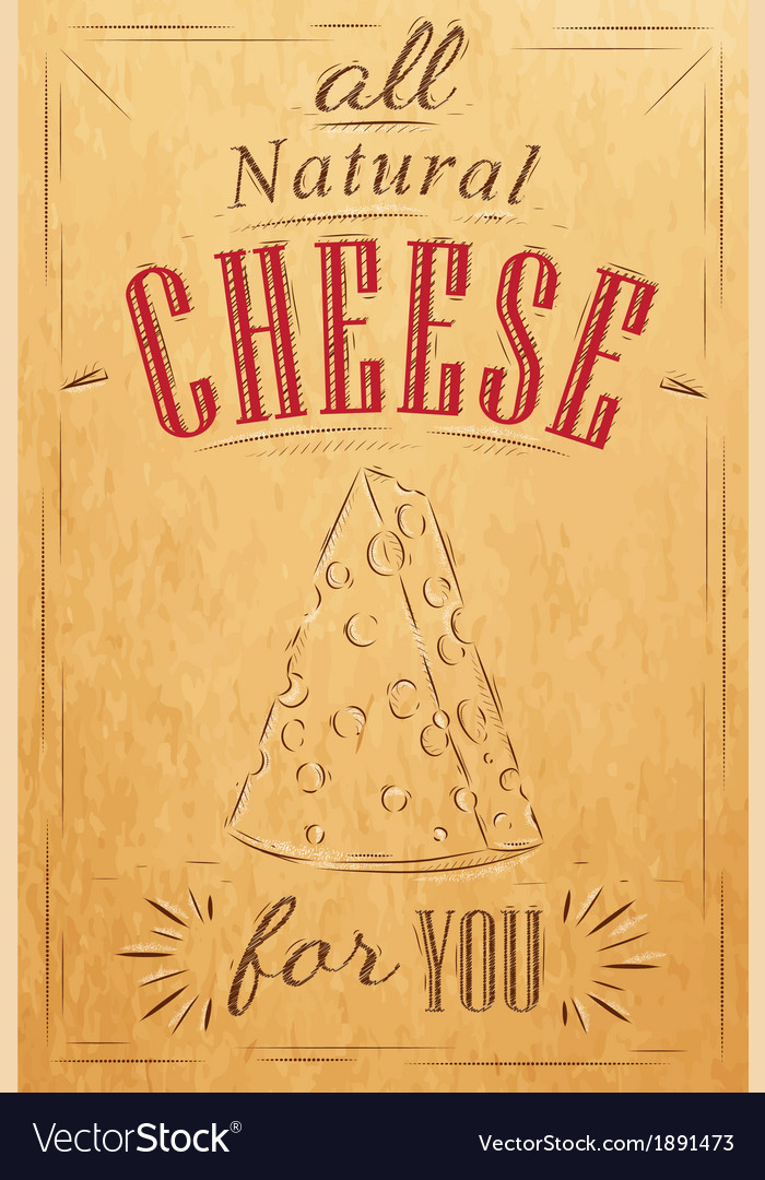 Cheese poster kraft vector | Price: 1 Credit (USD $1)