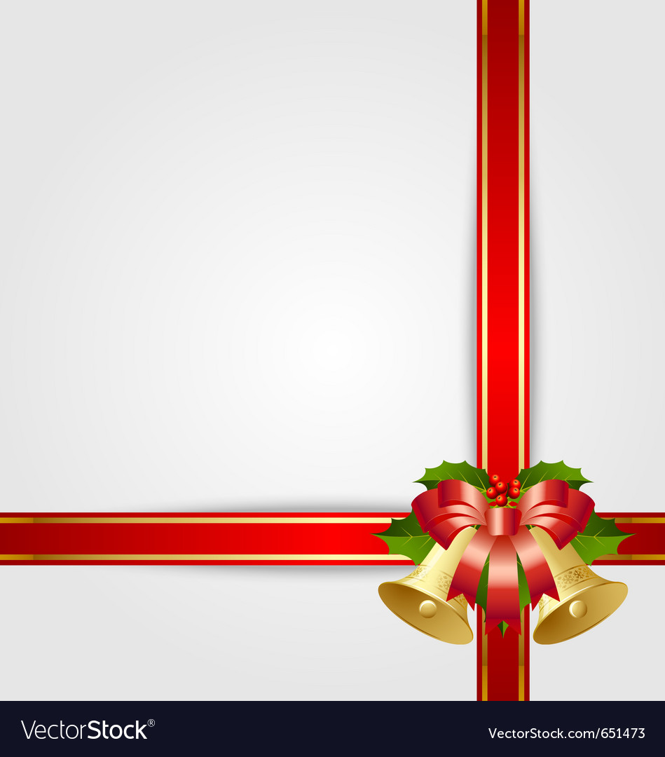 Christmas gift ribbon with decoration vector | Price: 1 Credit (USD $1)