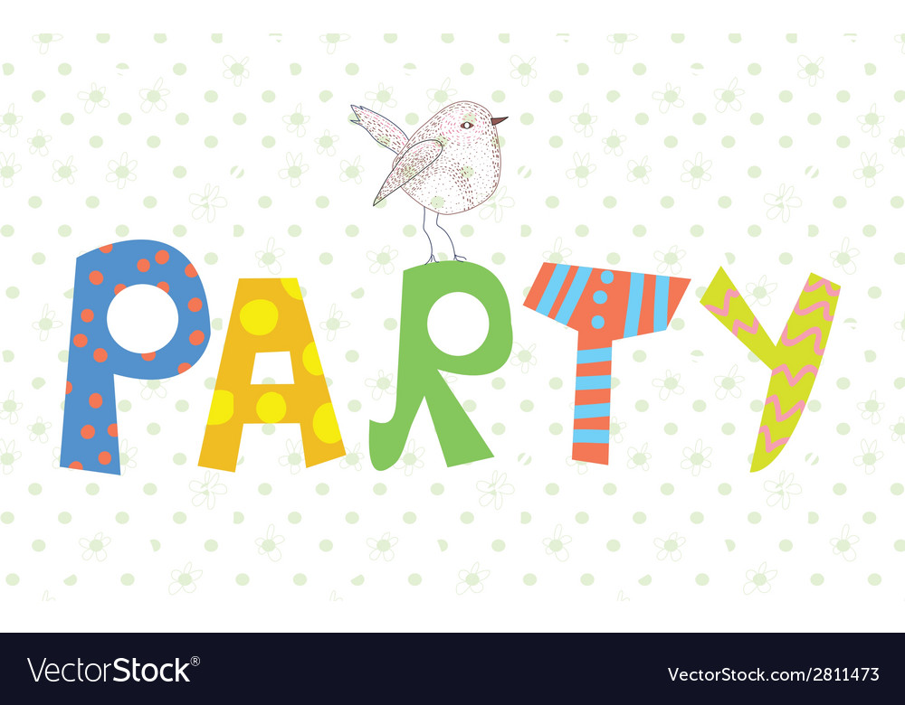 Funny party banner with texture and bird vector | Price: 1 Credit (USD $1)