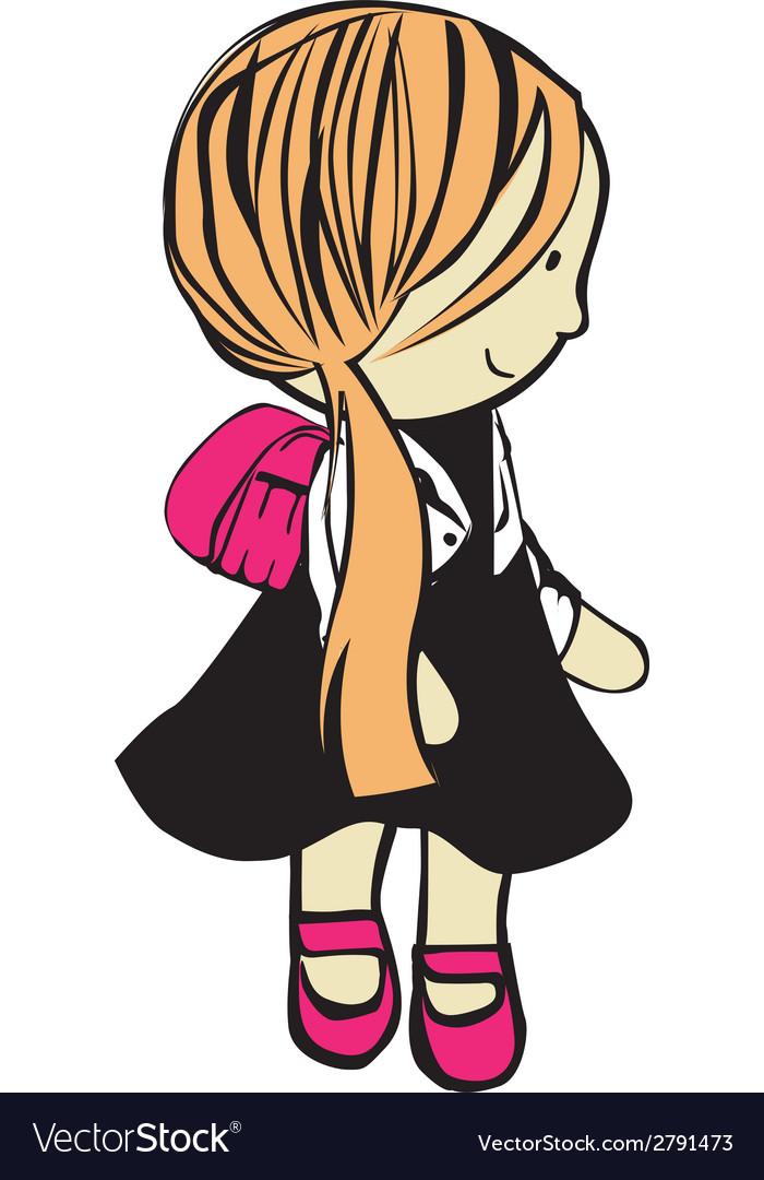 Girl with school bag vector | Price: 1 Credit (USD $1)