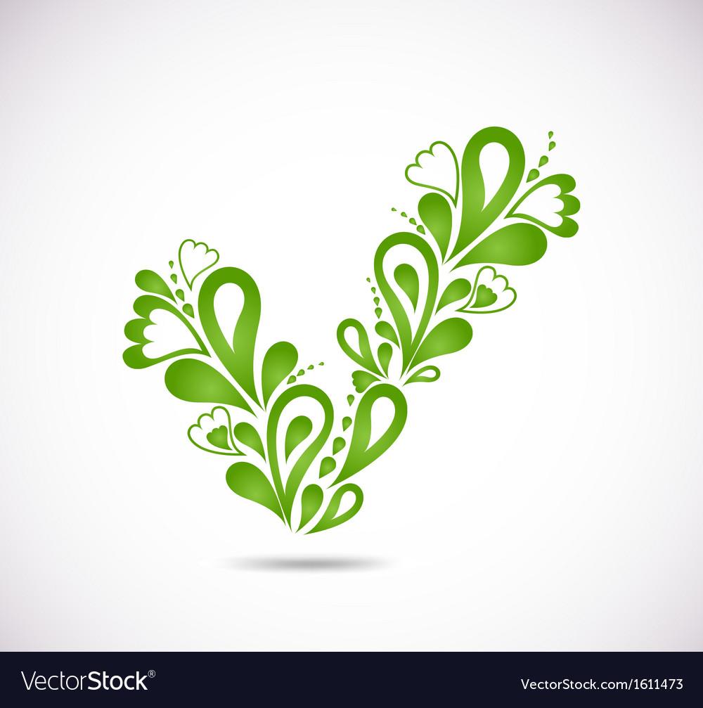 Ornamental green checkmark vector | Price: 1 Credit (USD $1)