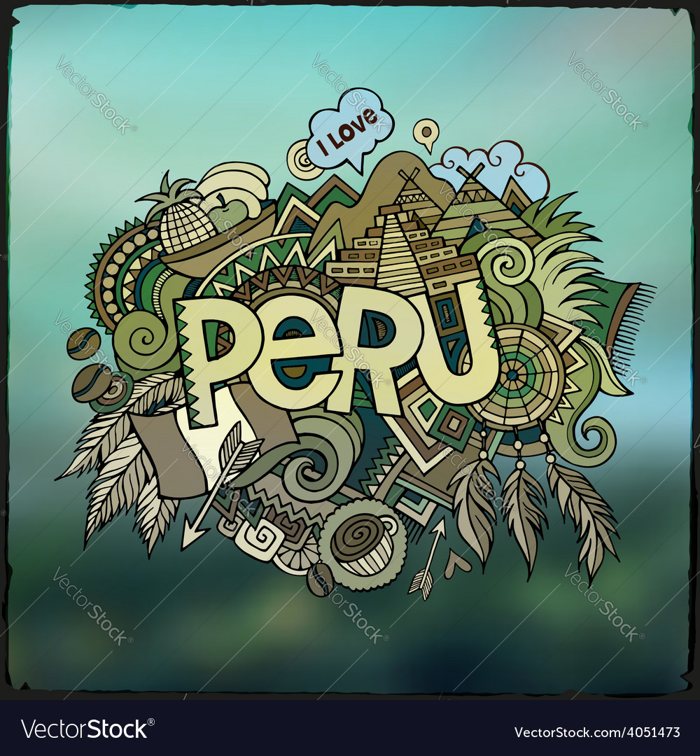 Peru hand lettering and doodles elements vector | Price: 1 Credit (USD $1)