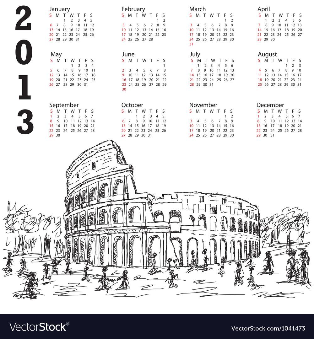 Rome colosseum 2013 calendar vector | Price: 1 Credit (USD $1)