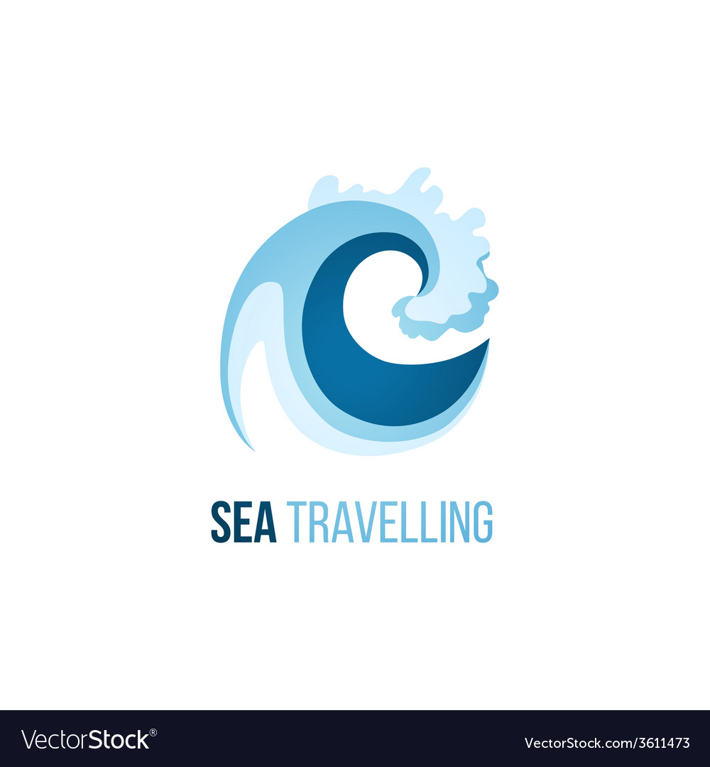 Sea trevelling logo template with wave vector | Price: 1 Credit (USD $1)
