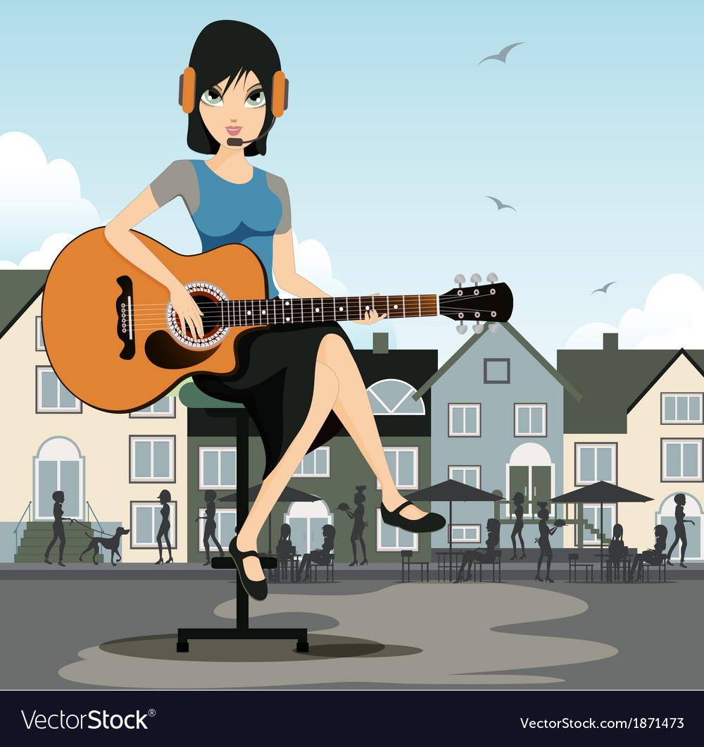 Woman guitarist vector | Price: 5 Credit (USD $5)