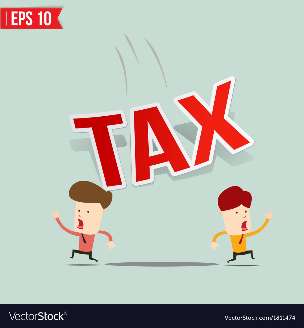 Businessman run away from tax burden vector | Price: 1 Credit (USD $1)