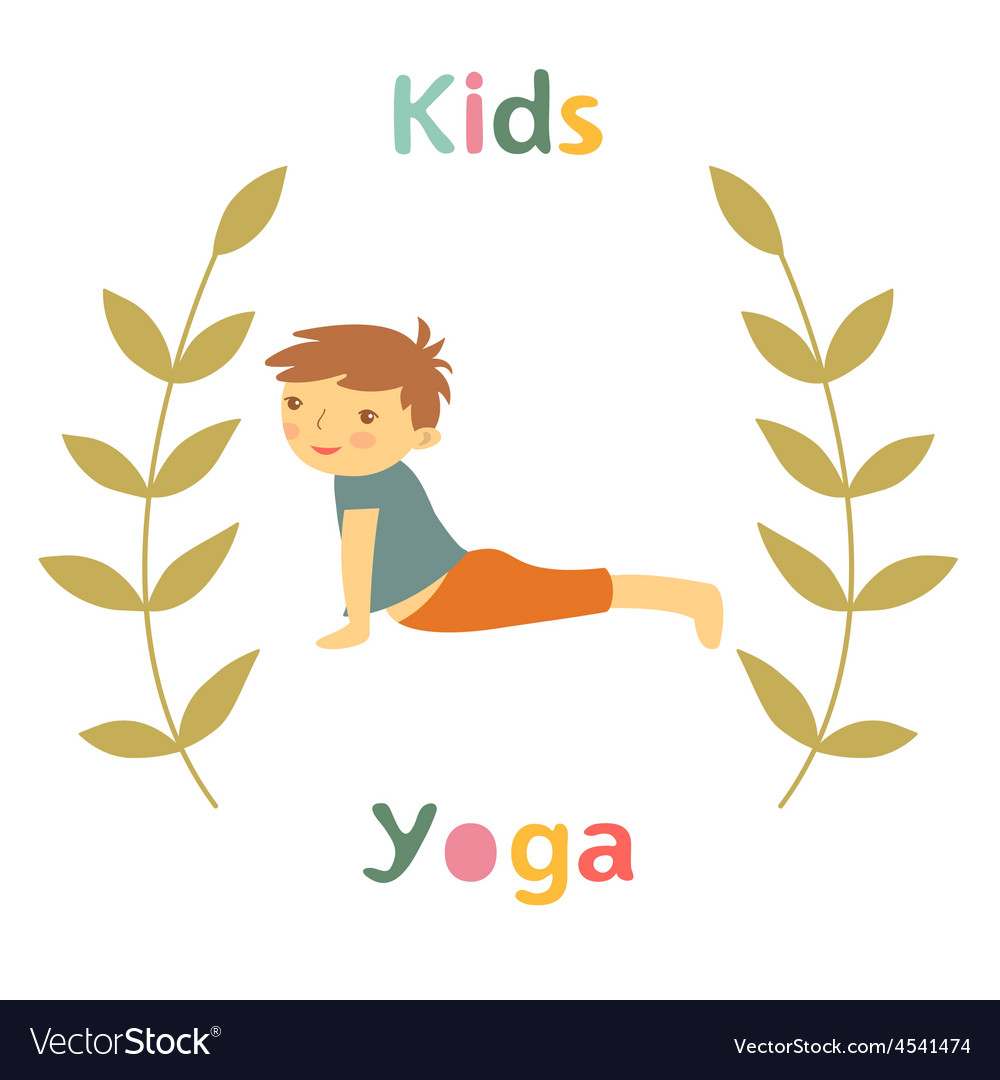Cute yoga kids card with little boy doing yoga vector | Price: 1 Credit (USD $1)