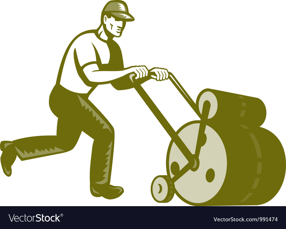 Gardener landscaper pushing lawn roller retro vector | Price: 1 Credit (USD $1)