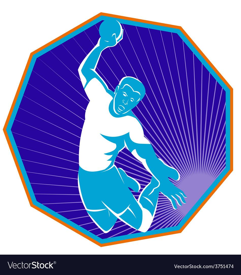 Handball player jump aiming shot vector | Price: 1 Credit (USD $1)