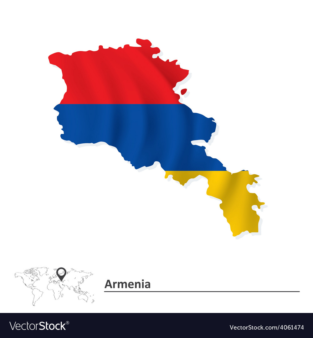 Map of armenia with flag vector | Price: 1 Credit (USD $1)
