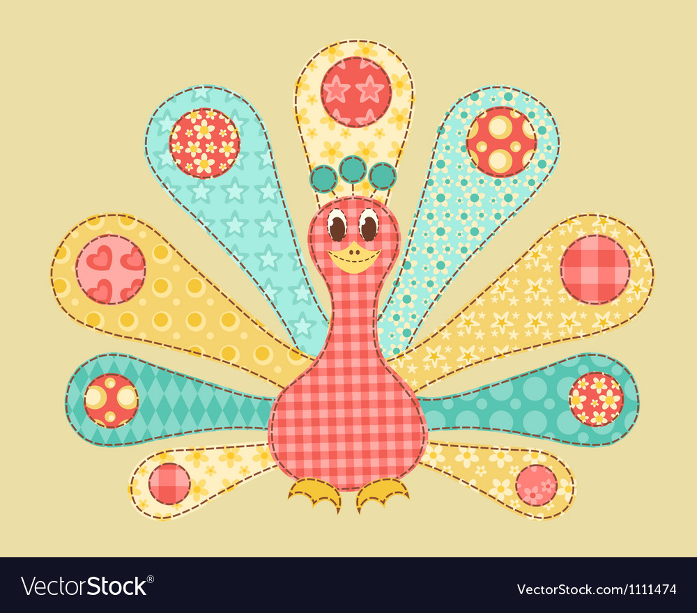 Peacock patchwork vector | Price: 1 Credit (USD $1)