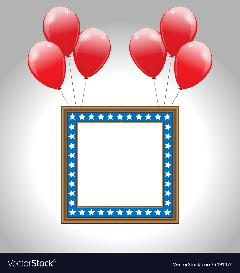 Photo frame in us national colors with balloons vector | Price: 1 Credit (USD $1)