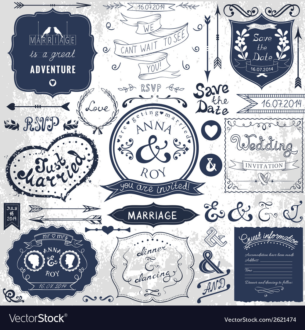 Retro hand drawn elements for wedding invitations vector | Price: 1 Credit (USD $1)