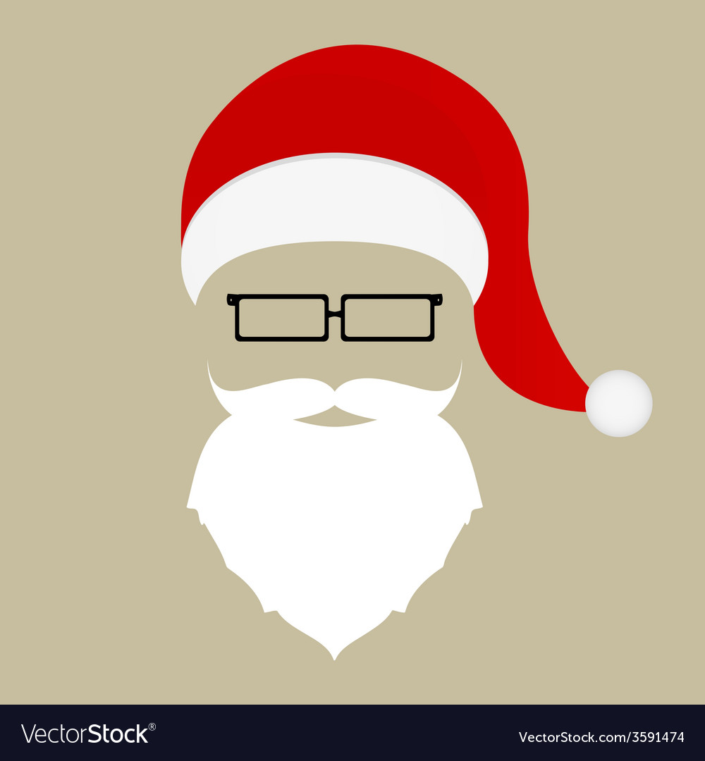 Santa hat mustache beard and glasses vector | Price: 1 Credit (USD $1)