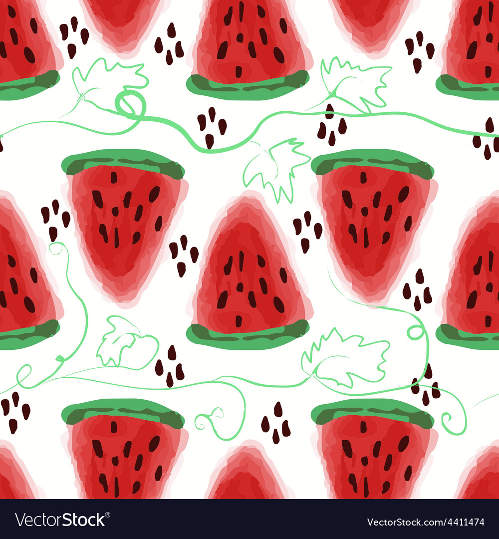 Seamless pattern of sweet juicy pieces watermelon vector | Price: 1 Credit (USD $1)