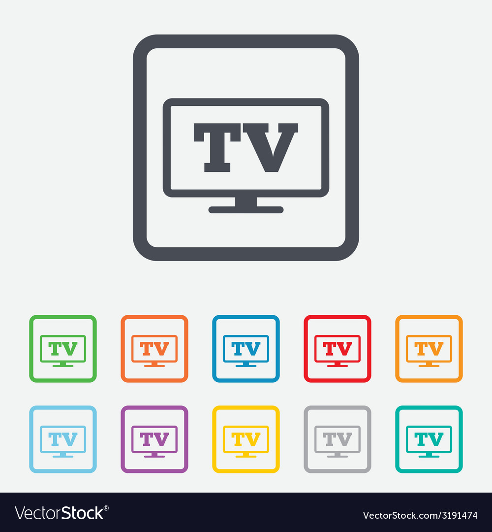 Widescreen tv sign icon television set symbol vector | Price: 1 Credit (USD $1)