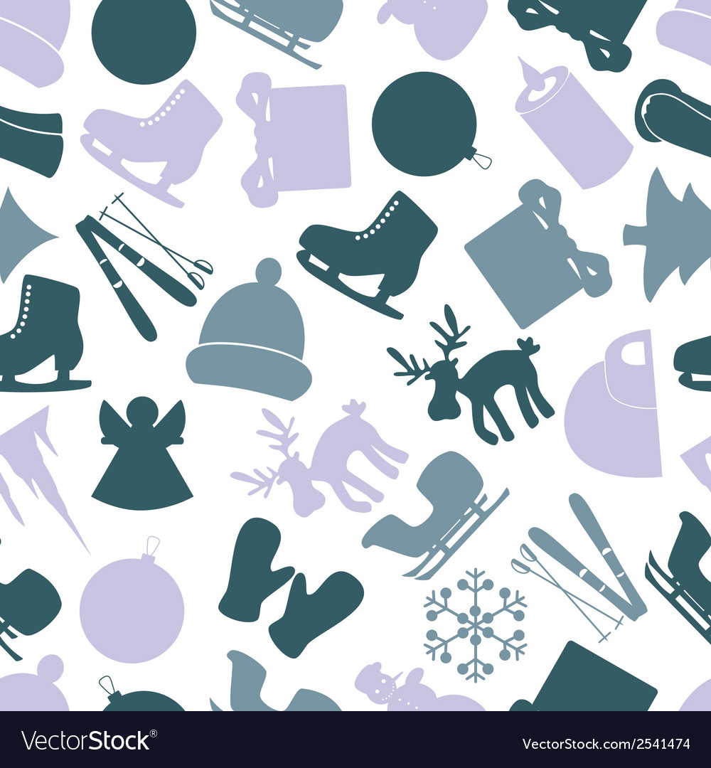 Winter icons color pattern eps10 vector | Price: 1 Credit (USD $1)
