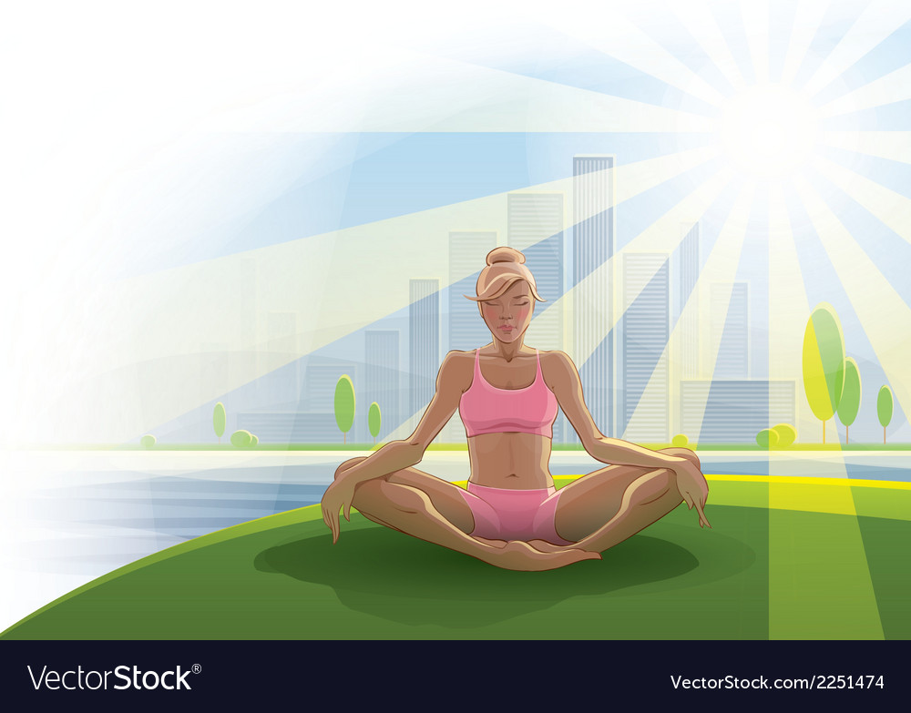 Woman practices yoga outdoors vector | Price: 1 Credit (USD $1)