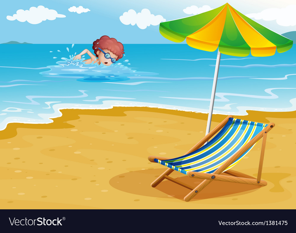 A boy swimming at the beach with a chair and an vector | Price: 1 Credit (USD $1)