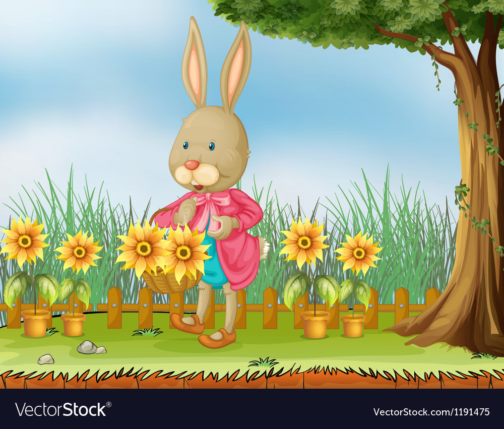 A bunny in the garden with sunflowers vector | Price: 1 Credit (USD $1)