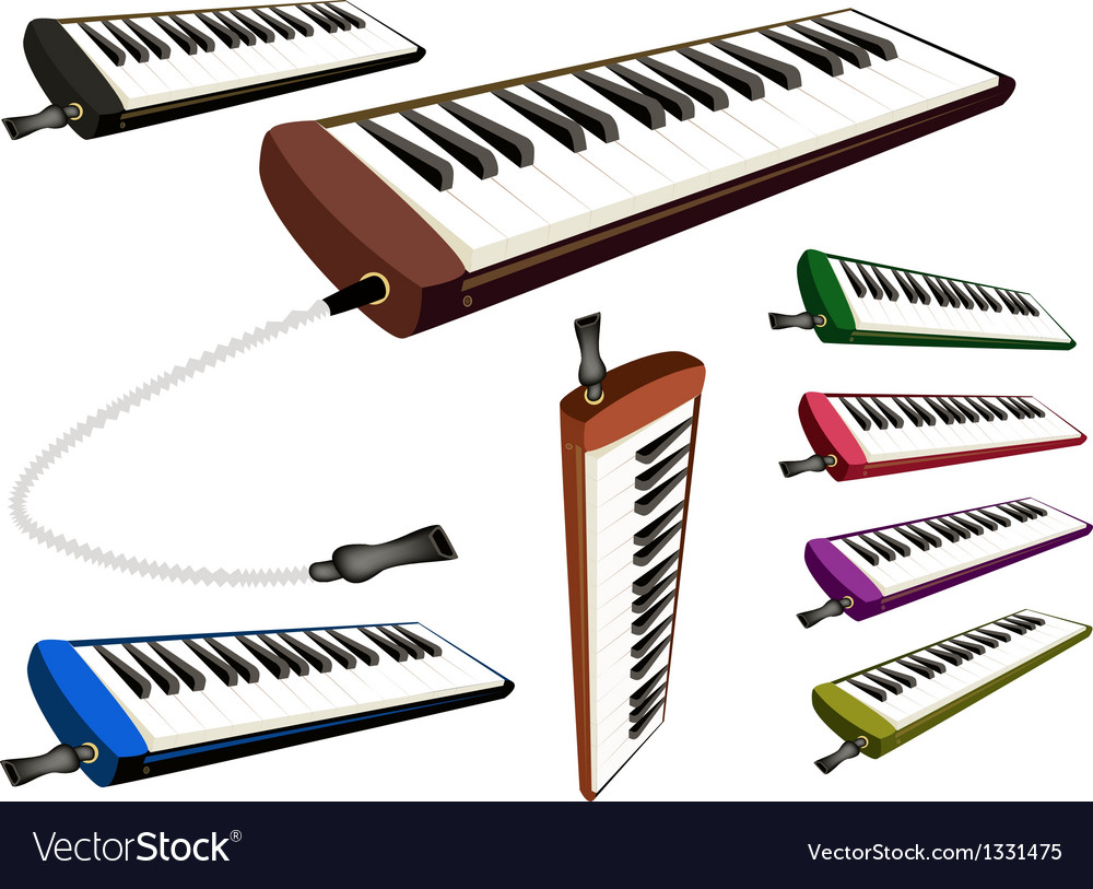A set of musical melodica on white background vector | Price: 1 Credit (USD $1)