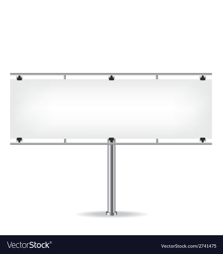 Blank metal billboard on white background vector | Price: 1 Credit (USD $1)