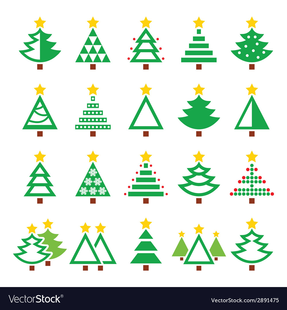 Christmas green tree - various types icons vector | Price: 1 Credit (USD $1)