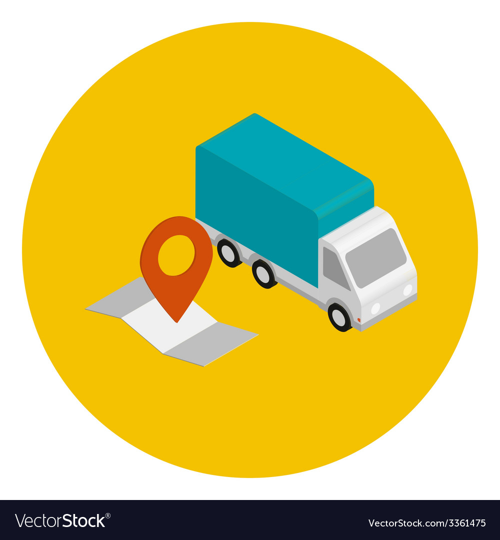 Delivery car with route map vector | Price: 1 Credit (USD $1)