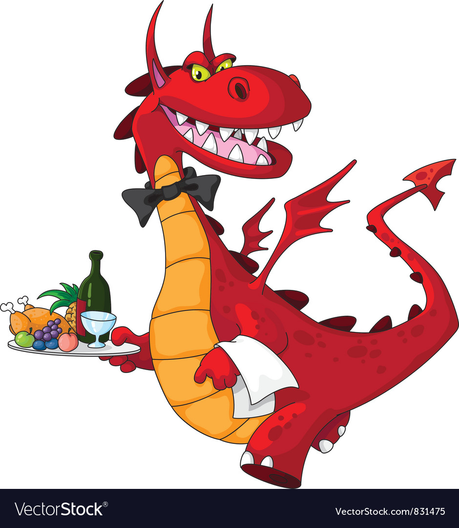 Dragon waiter with food tray vector | Price: 3 Credit (USD $3)