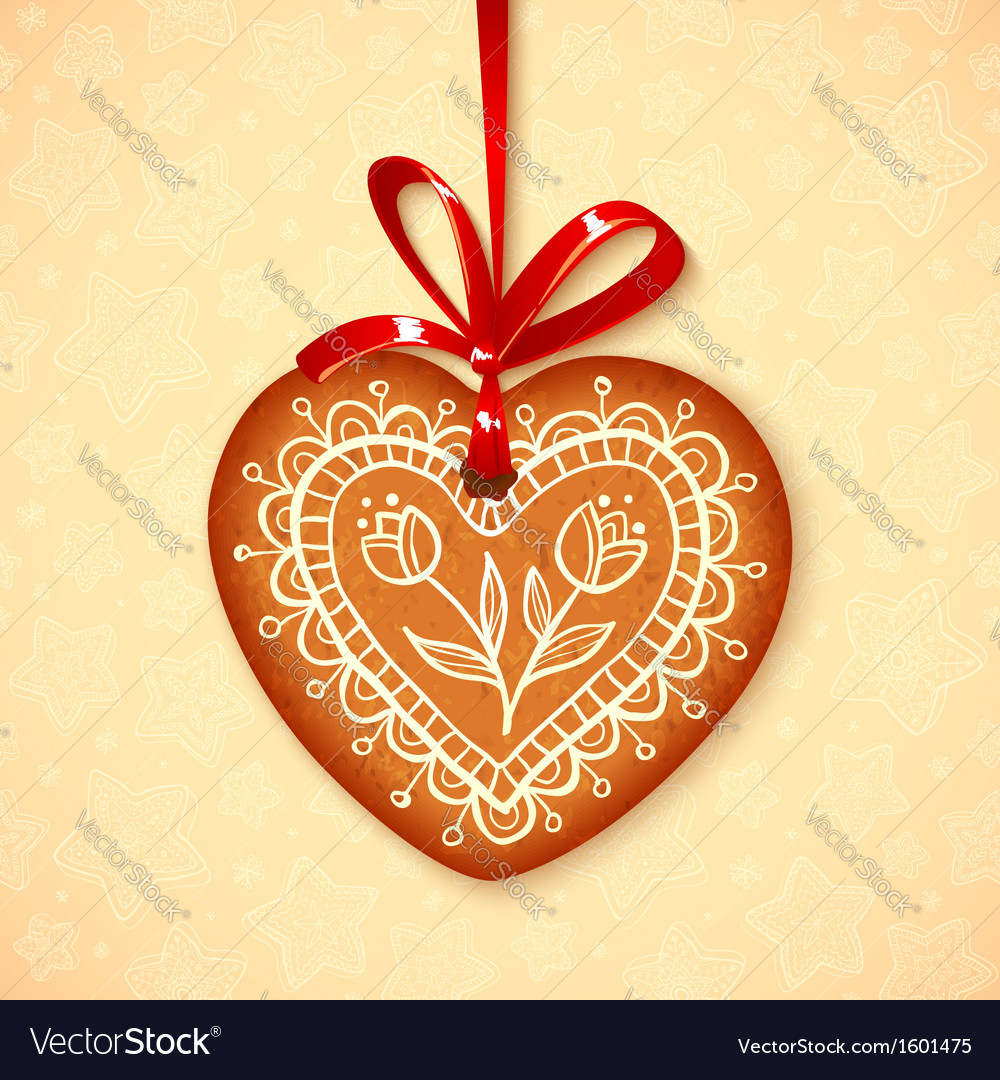 Gingerbread heart on red ribbon vector | Price: 1 Credit (USD $1)