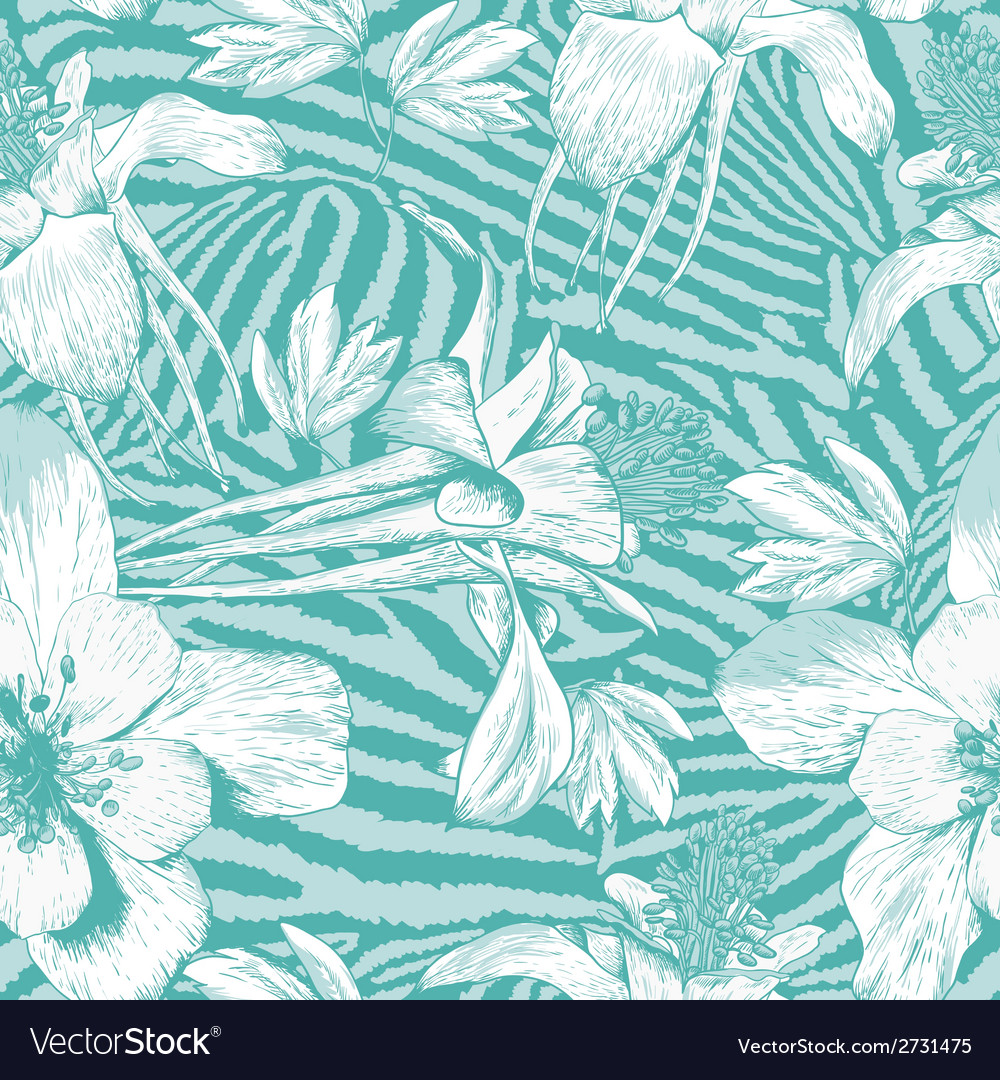 Monochrome seamless vintage flower pattern vector | Price: 1 Credit (USD $1)