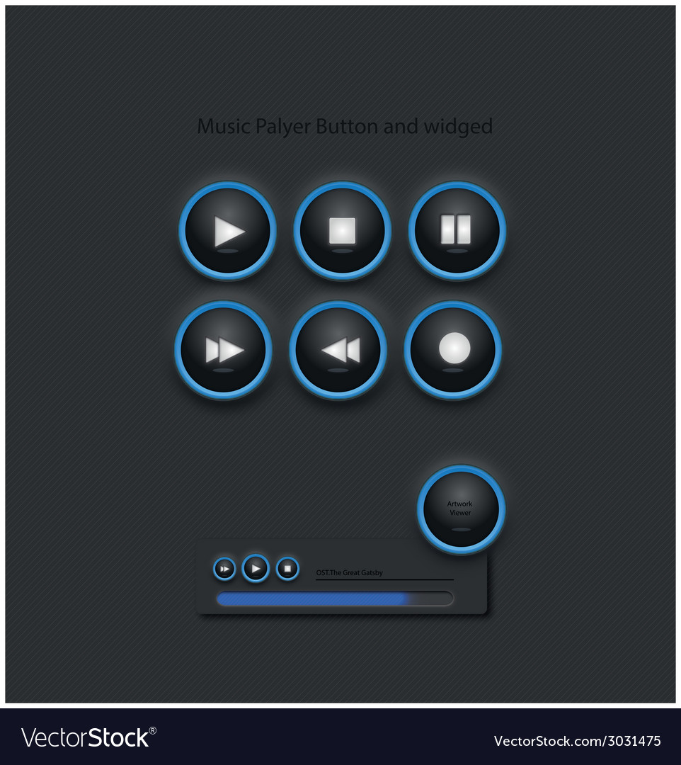 Music player widged and button vector | Price: 1 Credit (USD $1)